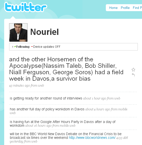 Nouriel Roubini Pleasures Himself On Twitter